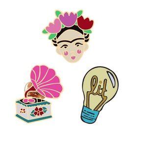 Accessories - 3 Piece Frida Thick Cartoon Enamel Pin Set